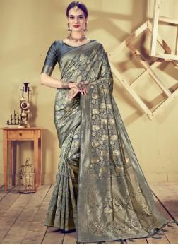 Grey Ceremonial Art Silk Designer Traditional Saree