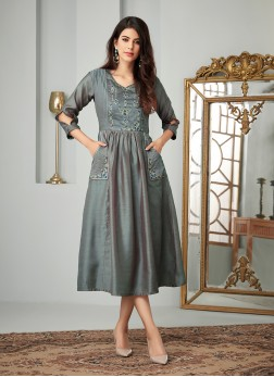 Grey Cotton Party Wear Kurti