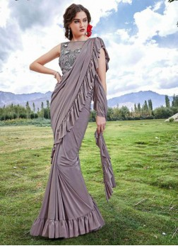 Grey Fancy Fabric Trendy Saree