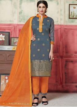 Grey Festival Jacquard Silk Designer Suit