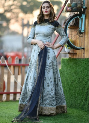Grey Handwork Silk Trendy Gown