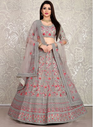 Grey Net girlish lehenga choli with dupatta