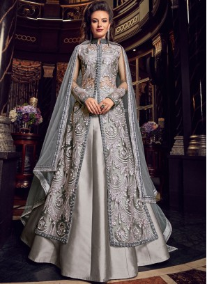 Grey Resham Net Long Choli Lehenga