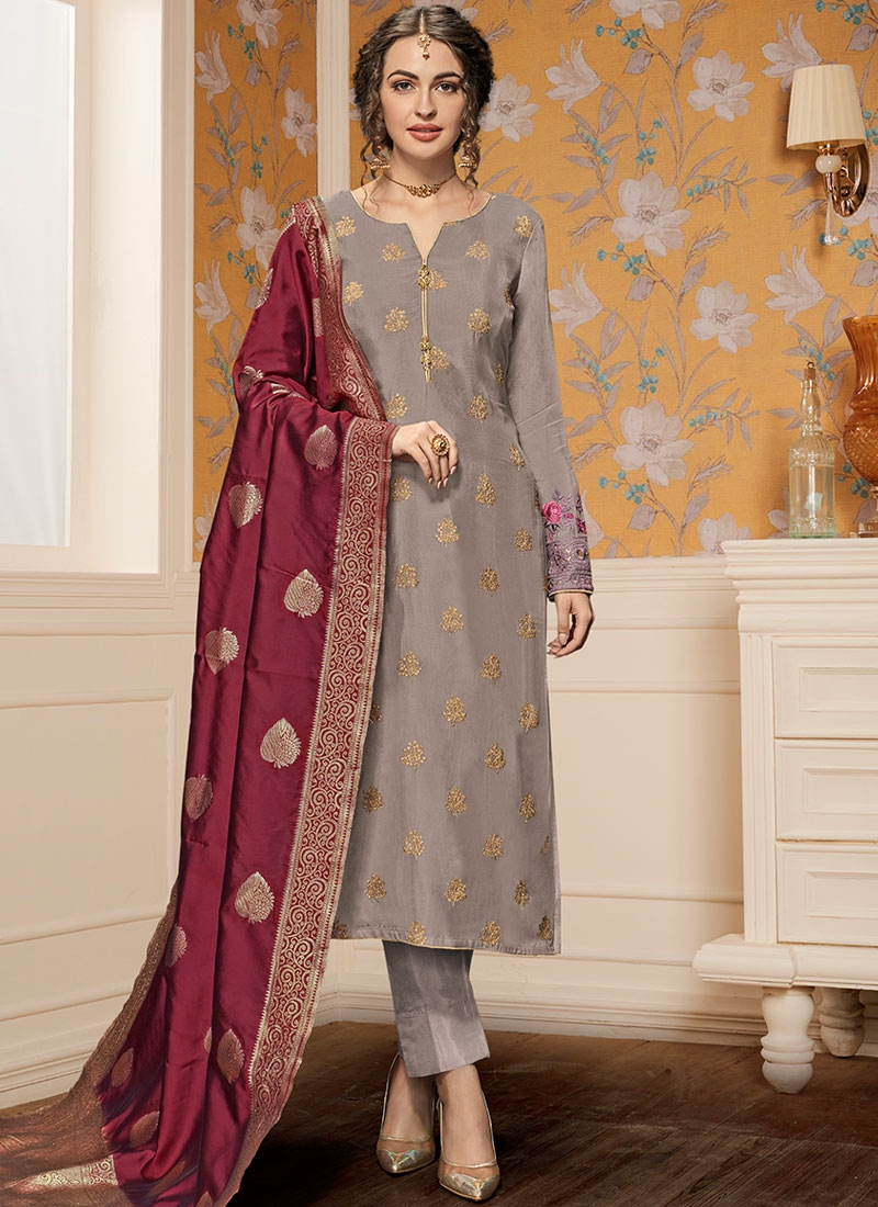 c4ecb5819 Grey Resham Pant Style Suit. Hover to zoom