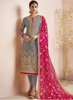 Grey Satin Resham Churidar Designer Suit
