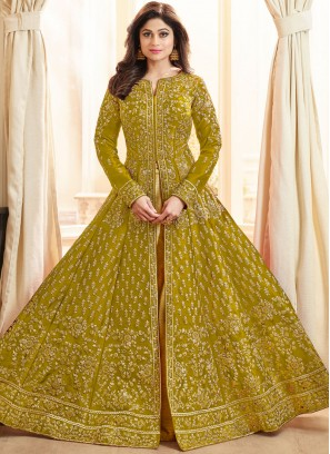Gripping Embroidered Green Shamita Shetty Long Choli Lehenga