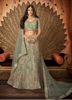 Groovy Embroidered Sea Green Silk Designer Lehenga Choli