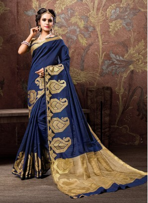 Groovy Woven Cotton Silk Blue Traditional Designer Saree