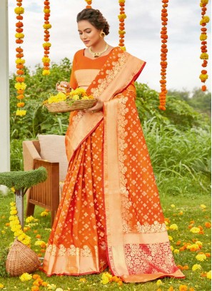 Haldi Ceremony Wear Patola Print Silk Saree In Yellow