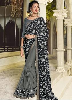 Half N Half Designer Saree Embroidered Faux Georgette in Black and Grey