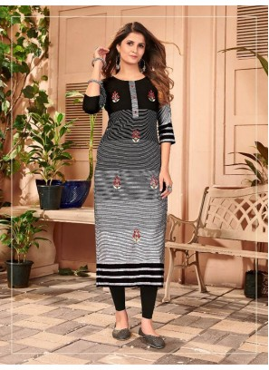 Hand Embroidery Casual Kurti In Black