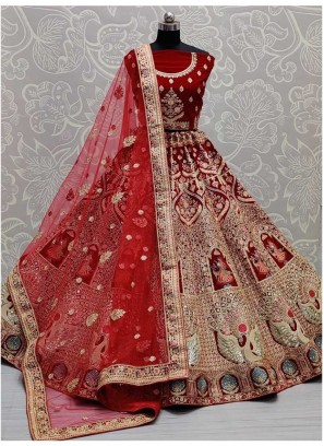Hand Mirror Work Bridal Lehenga Choli In Red