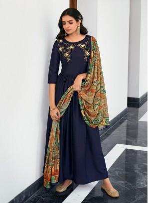 Hand Work & Khatali Work Anarkali Style Salwar Suit In Navy Blue