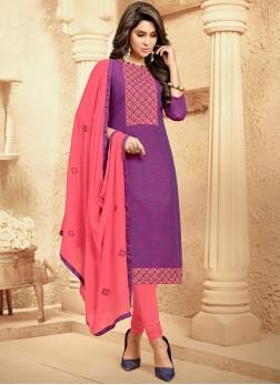 Handloom Cotton Purple Churidar Suit