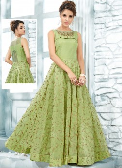 Handwork Art Silk Designer Gown in Green