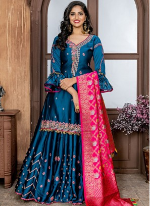 Heavenly Blue Embroidered Rangoli Designer Salwar Kameez
