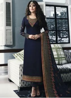 Heavenly Navy Blue Georgette Satin Churidar Salwar Suit