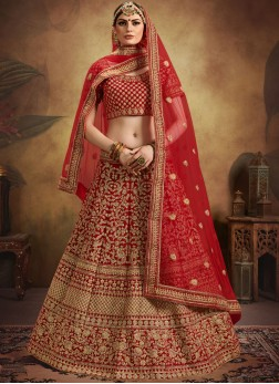 Heavenly Velvet Embroidered Red Designer Bridal Lehenga