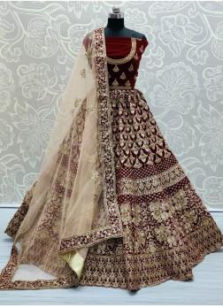 Heavy Coding Work Maroon Net Bridal Lehenga Choli