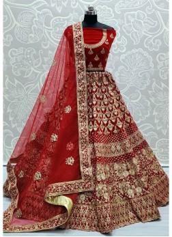 Heavy Coding Work Red Net Bridal Lehenga Choli