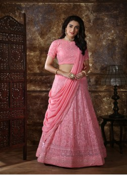 Heavy Embroidered  lakhnavi pattern Pink Georgette Casual Wear Lehenga Choli