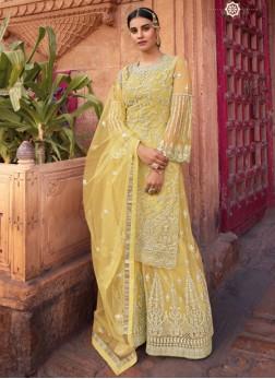 Heavy Embroidery Anarkali Salwar Kameez With Palazzo In Light Yellow