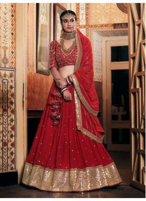 Heavy Embroidery Work Blouse Lehenga Choli In Red