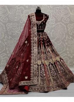Heavy Embroidery Work & Diamond Velvet Ghagara Choli In Maroon