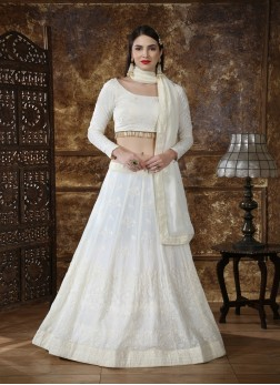 heavy Georgette wedding Lehengacholi in White with Sequence and embroidered work