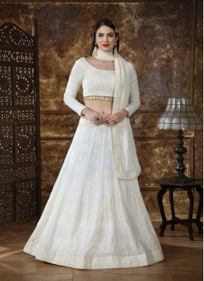 Georgette wedding Lehengacholi in White with Sequence embroidered work