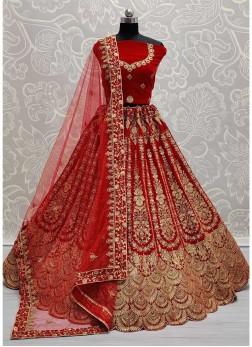 Heavy Zari Embroidery Bridal Lehenga Choli In Red