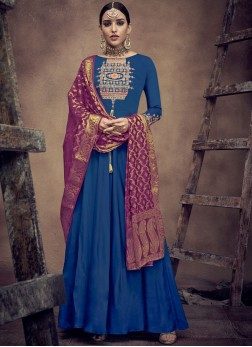 Honourable Blue Wedding Readymade Anarkali Suit
