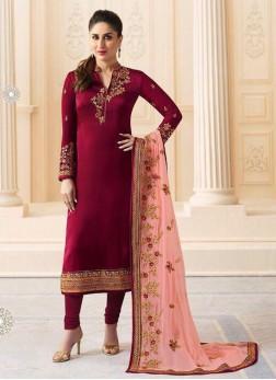 Honourable Embroidered Maroon Kareena Kapoor Churidar Salwar Kameez