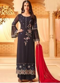 Honourable Embroidered Mehndi Designer Straight Salwar Suit