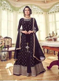 Honourable Georgette Wine Embroidered Designer Salwar Kameez