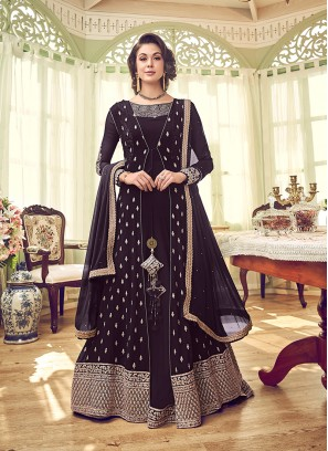 Honourable Georgette Wine Embroidered Designer Salwar Kameez