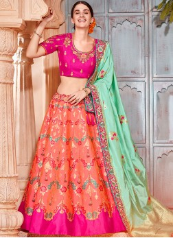 Hot Pink and Orange Jacquard Silk Lehenga Choli