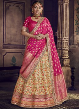 Hot Pink and Yellow Wedding Lehenga Choli