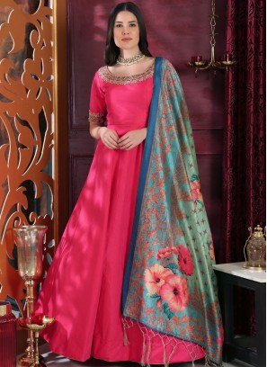Hot Pink Art Silk Embroidered Designer Gown