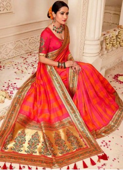 Hot Pink Art Silk Party Traditional Designer Saree