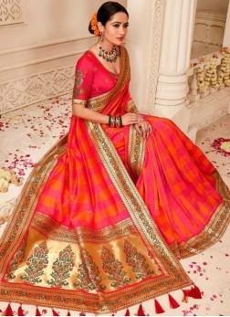 Hot Pink Art Silk Party Traditional Designer Saree