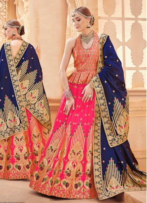 Hot Pink Art Silk Sangeet Designer Lehenga Choli