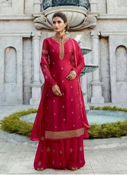 Hot Pink Color Designer Palazzo Salwar Suit