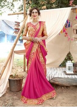 Hot Pink Color Saree
