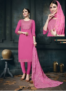 Hot Pink Cotton Designer Straight Suit