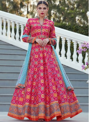 Hot Pink Digital Print Art Silk Readymade Suit