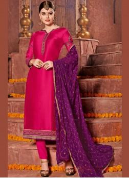 Hot Pink Embroidered Churidar Designer Suit
