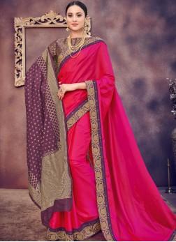 Hot Pink Sangeet Art Silk Designer Saree