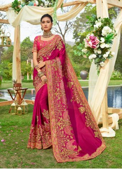 Hot Pink Zari Satin Silk Classic Saree