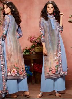 Hypnotic Faux Crepe Multi Colour Designer Palazzo Salwar Kameez